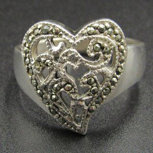 Size 8 Sterling Silver Marcasite Unique Heart Ring